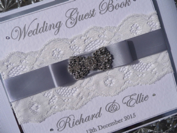Personalised Wedding Guest Book - White & Silver Lace